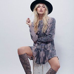 Free People Smooth Talker Printed Tunic Dress S